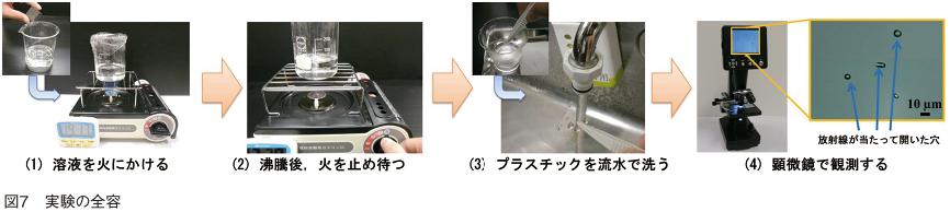 図⑦ 実験の全容 (1)溶液を火にかける (2)沸騰後、火を止め待つ (3)プラスチックを流水で洗う (4)顕微鏡で観測する