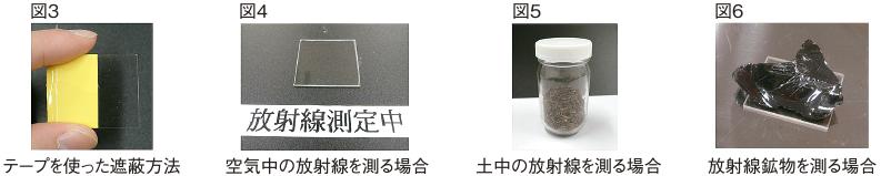 図3 テープを使った遮蔽方法、図4 空気中の放射線を測る場合、図5 土中の放射線を測る場合、図6 放射線鉱物を測る場合